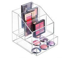 31db93ee7 mDesign Organizador de maquillaje ? Caja transparente con 3 compartimentos  y un cajón - Ideal para