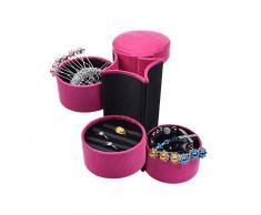 Terciopelo Mini rollo de tres capas de joyas caja caso organizador de viaje Almacenamiento Joyería en forma de cilindro portátil soporte con cierre de presión para mujer