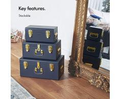 Beautify Juego de 3 Baúles Azul Marino para el Dormitorio y la Sala de Estar– Manijas y Cierres de latón