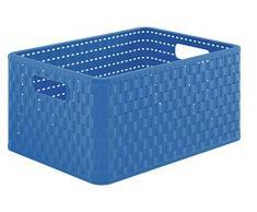 Rotho Country - Caja de almacenaje, 18 L, en Apariencia de ratán, de plástico Polipropileno, Color Negro, Formato A4, plástico, Azul, Box A4