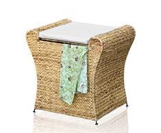 – Taburete de baño ropa ropa Box – Taburete de baño Asiento Taburete baúl jacinto de agua natural cesta Case