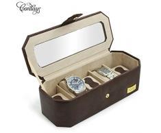 CORDAYS - Estuche Relojero para 5 Relojes con Vitrina de Cristal Joyero Relojero para Accesorios y Joyas -Hecho a Mano- Color Marrón CDM-00034