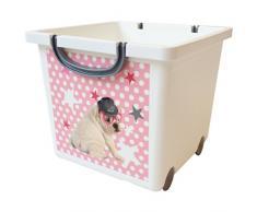 Iris 123308.0 perro imagen caja de almacenaje para niños, con ruedas y correa, 25 litros, blanco/gris