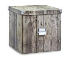 Zeller 17869 - Caja de almacenaje de cartón, 33,5 x 33 x 32 cm, diseño tipo madera