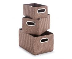 Zeller 14091 - Juego de cajas de almacenaje con asas de cromo (3 unidades: 36 x 25 x 20 cm, 29 x 21 x 16 cm y 25 x 16 x 12 cm), color marrón