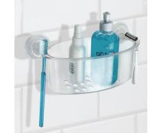 InterDesign Power Lock Cesta para ducha, estante de baño de plástico con fuertes ventosas, transparente