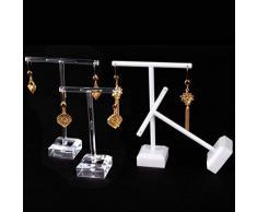 Cabilock 4 Piezas Pendientes de acrílico Soporte de pie en Forma de t Pendientes de Oreja Soporte de exhibición de joyería Organizador de Almacenamiento en Rack (Blanco)