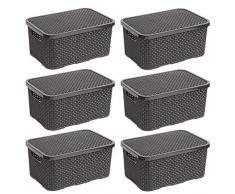 BranQ - Home essential Cesta en Rattan Design 6er Set, plástico PP, Antracita, 38x27,8x18,5 cm (LxBxH)