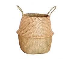 Teekit Canasta de Mimbre de Mimbre de Seagrass Colgante de Maceta Sucia Canasta de Almacenamiento de Cesta de lavandería,M