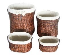 Eshow ratan cesta mimbre con tapa de almacenaje a mano para decoracion en casa tamano grande con cuarto piezas color marron
