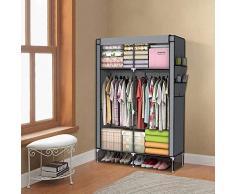 PingFanMi 110x45x175cm Organizador de almacenamiento de ropa de clóset de ropa portátil, armarios plegables Estantes de guardarropas, cremallera y riel colgante - Almacenaje de textil no tejido plegab