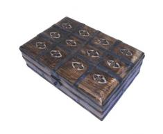 Cofre del tesoro 23x15x8cm de madera maciza trabajo manual