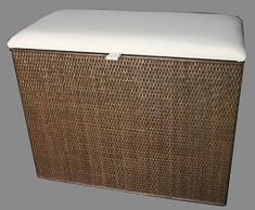 """Cesto para la ropa sucia 3 posiciones de clasificador de taburete de mimbre colour marrón con tres compartimentos """"Made in Germany"""""""