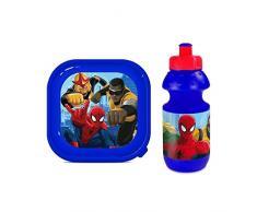 Marvel Ultimate Spider-Man COLEGIO Térmico Cremallera Fiambrera, Caja & Botella Juego