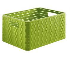 Rotho Country - Caja de almacenaje con efecto de mimbre (18 l, A4, dimensiones 36,8 x 27,8 x 19 cm), color verde