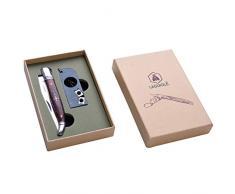 LAGUIOLE - Cofre Cuchillo Plegable y Afilador diseño de Llavero - Util para actividades al aire libre - acero inoxidable, madera de pakka - Marrón oscuro