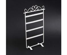 Kentop Soporte de Metal para Joyas Estante de Expositor Muestrario Organizador de Pendientes Size 30×16cm (Blanco)