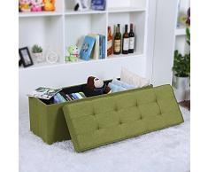 Songmics Baúl Puff Taburete de almacenamiento Esponja engrosada Plegable verde 110 x 40 x 38 cm LSF91L