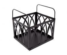 PURLINE EFP13 Porta leña de acero con asas para transporte, Negro