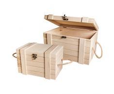 Rayher Hobby Mix Credit 62651000 - Juego de baúles de madera, FSC, color marrón, 3,02 x 2,12 x 1,8 cm