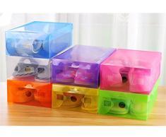 10 x plegable de plástico caja de almacenamiento cajas apilables para zapatos organizador con tapa, color al azar