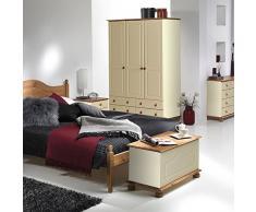 NJA Furniture - Baúl (45 x 83 x 42 cm), color beige y marrón