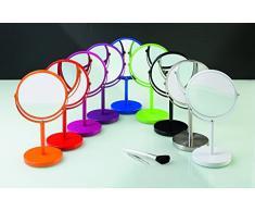 Spirella colección Sydney, Espejo de pie para tocador o baño 17x17x27 (Reversible: 100% y x2 aumentos), Metal, Blanco