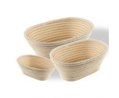 Hecho a mano de ratán natural oval cesta pan pan de almacenamiento cesta de fermentación pruebas cuenco, Large