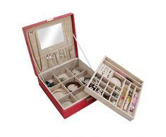 Caja de almacenamiento de joyas – SODIAL (R) Mujer Lady chicas actriz portátil organizador de joyería pendientes/anillo/collar/reloj etc cosméticos caja de almacenamiento contenedor rojo