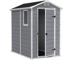Keter Manor 4X6 S Shed- Caseta de jardín, con suelo, sistema de ventilación, puerta y ventana, resistente al agua, color gris