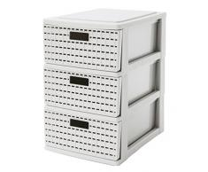 Sundis - Cajón de almacenaje, diseño de ratán, color blanco