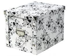 Zeller 17849 - Caja de cartón para almacenaje, diseño floral, 27,5 x 36 x 26,5 cm, color blanco y negro