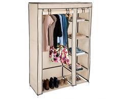 TecTake Armario doble de lona tela ropa organizador guardarropa | con estantes y barra | 107 x 175 x 45 cm - disponible en diferentes colores - (Beige | no. 402529)