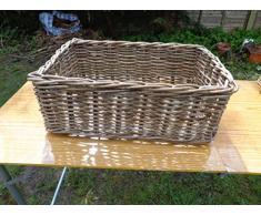 Estante de mimbre cesta de almacenamiento, ratán, Gris, XL. Len 57cm x W 39cm x H 22cm