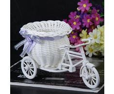 SODIAL(R) Ratan Flor Cesta Triciclo Bicicleta Para Florero Jarron Regalo Decoracion