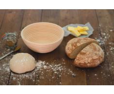 Kitchencraft Cesta de Mimbre para Fermentar la Masa, Mimbre Y Ratán, Beige, 22x22x8 cm