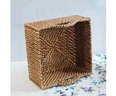 BAGEHUA tejidas a mano cesta de mimbre cesta de almacenamiento portátil de almacenamiento de Escritorio Baño Cesta de Rattan Plaza té Canasta de almacenamiento grande marrón Tuba