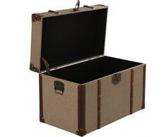 DonRegaloWeb - Set de 2 baúles de madera y polipiel con herraje metálico tonos marrones 70x40x43 y 62x34x38cm