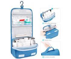 WARMWORD Bolsa de Aseo Colgante Maquillaje portátil Organizador cosmético Bolsa de Lavado de Viaje Plegable Idea para Hombres Mujeres viajeros Conductores de Larga Distancia, Azul