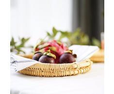 CUPWENH Canasta De Frutas De Rattan Bandeja De Almacenamiento De Alimentos,Una Cesta De Almacenamiento