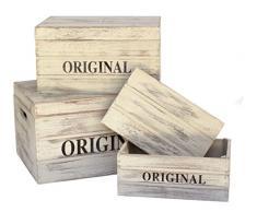 Baúl de madera Original. Set de 3 baúles de madera en color blanco decapado y letras ORIGINAL. Ideal para almacenar y decorar. Decoración de casa, locales, escaparates, bodas, para guardar los juguetes de los niños...