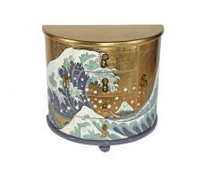 Casa Collection / Art for living by Jänig 10549 - Joyero lacado en forma semicircular (2 puertas y 4 cajones, 37 x 39 x 19 cm, diseño de La ola de Katsushika Hokusai)