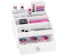 InterDesign Drawers Caja con compartimentos   Caja de maquillaje con 1 cajón y 11 compartimentos   Organizador de maquillaje o artículos de oficina   Plástico blanco