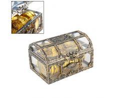 Mallalah Plástico Transparente Caja de Tesoro de Pirata Joya de Cristal Caja de Joyas Organizador de Almacenamiento Cofre de Tesoro Recuerdo