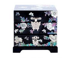 Madre de incrustaciones de perlas Art diseño de pájaros de flor de peonía asiático lacado de madera joyería tesoro regalo de recuerdo de joyero cajón caja caso titular Organizador