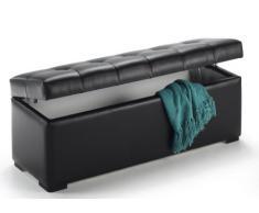 Baúl arcón elevable tapizado en símil piel, puff taburete (130 cm, Negro)