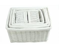 Enorme Tamaño Grande de profundidad más amplia cocina juguete de almacenamiento de mimbre Log cesta cesta de la colada, Blanco, Small: 22x22x14.5cm