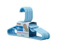 Hangerworld - Perchas De Plástico Para Niños Con Barra, Color Azul, 29 cm, 40 Unidades