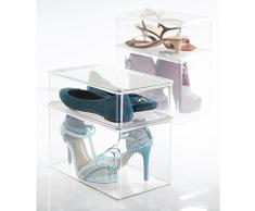 mDesign - Caja organizadora para almacenamiento de calzado en el armario; organiza tacones, zapatos de vestir, calzado deportivo - Claro