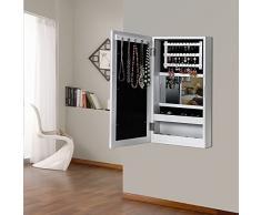 Songmics Armario de joyas con espejo y marco para fotos, color blanco 56 cm JBC59W